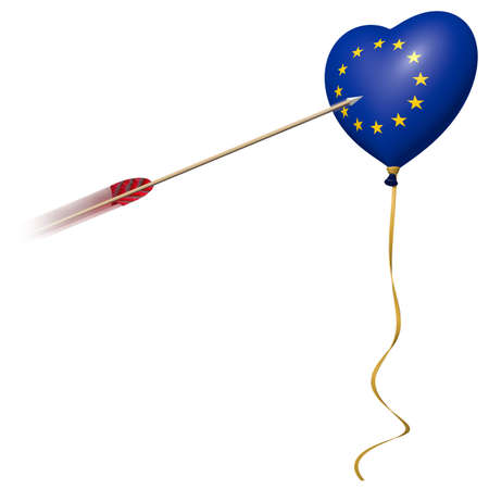 heart balloons with european flag and arrow