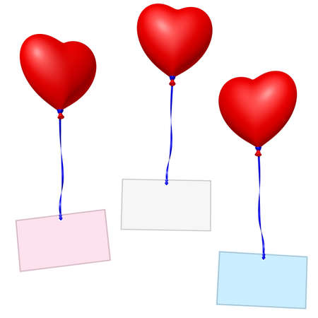 red heart balloons with labels