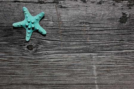 barnwood: Agua estrellas de mar en barnboard, madera granero en la playa del oc�ano Foto de archivo