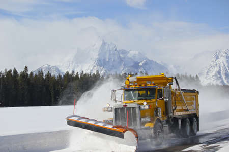 Snow plow truck in grand teton national park tetons wyoming photo