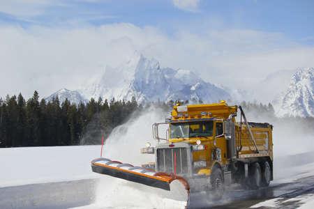 snow plow: Snow plow truck in grand teton national park tetons wyoming