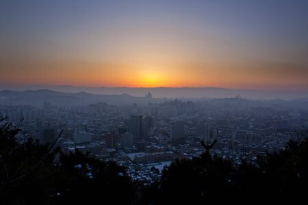 incheon: Sunset over the city of Incheon, South Korea in the winter Stock Photo