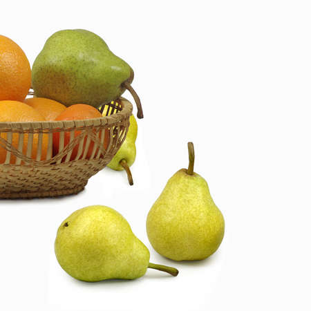 Isolated image of pears and tangerines on a white background Stock Photo
