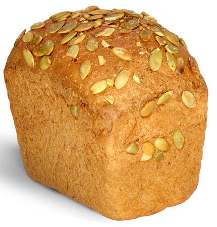 Image of bread with pumpkin seeds on a white background Stock Photo