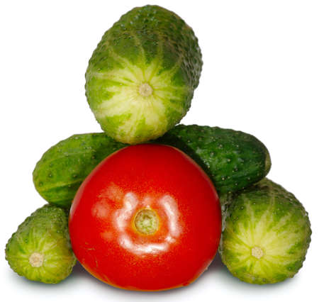 Isolated image of tomato and cucu,mber on a white background