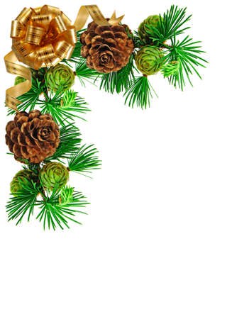 Isolated image of fir branches and yellow bow on white background photo