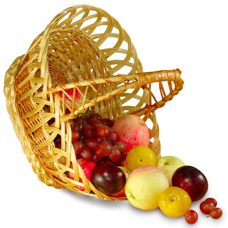 Isolated image of fruit and baskets on a white background photo