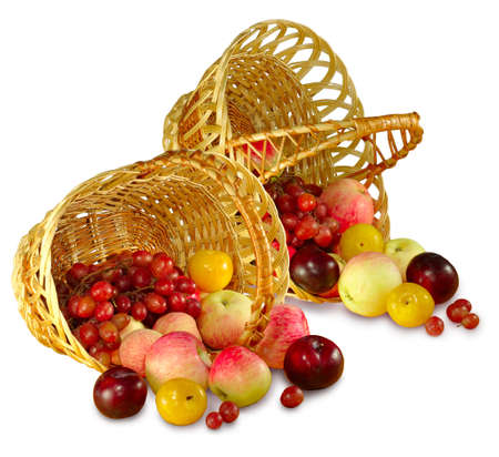 Isolated image of two baskets of fruit on a white background photo