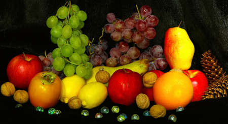 withe: Image of fruit and berries on a black background
