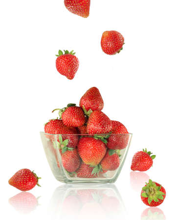 Isolated image of a ripe strawberry in a bowl
