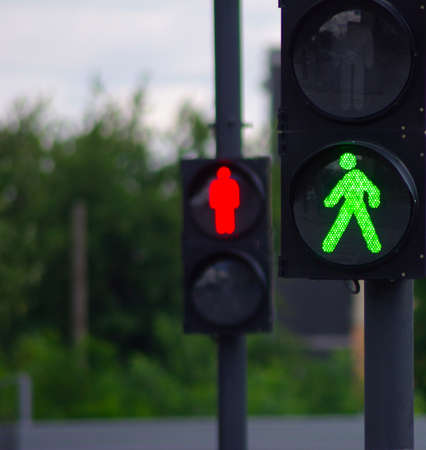 image of two traffic signals  on a background of trees Stock Photo
