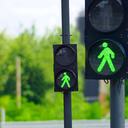 green light for two traffic lights Stock Photo