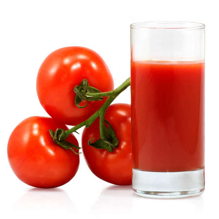 Isolated image of a glass of tomato juice and tomatoes on white background Stock Photo