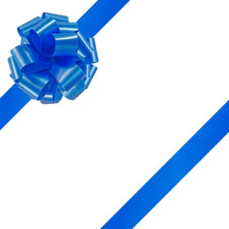 Image of holiday blue bow and ribbon