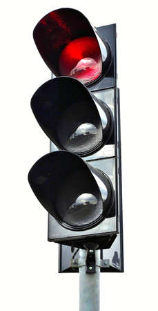 Isolated image of traffic lights on a white background photo
