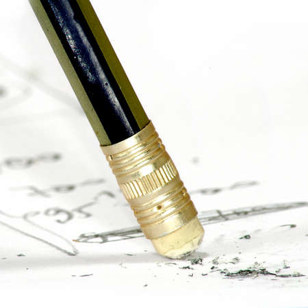 Image pencil with eraser against the handwriting background Stock Photo