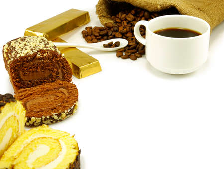 image of a cup of coffee, chocolate, rolls and coffee beans photo