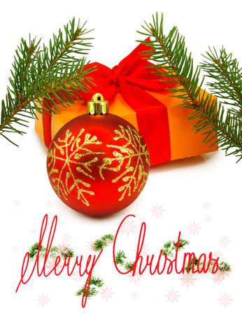 Isolated image of a Christmas ball and gift box photo
