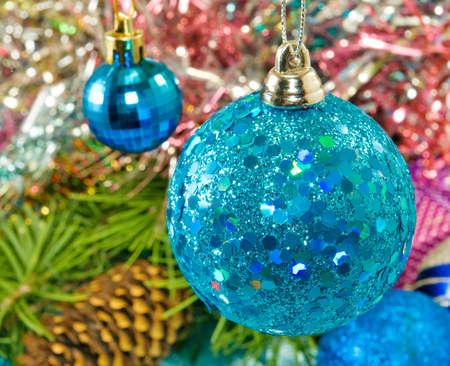 image of blue Christmas ball photo