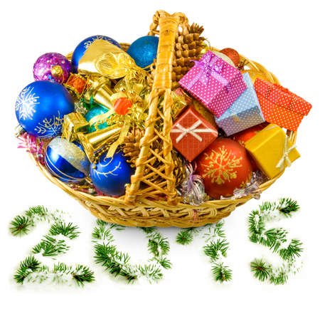 Isolated image of baskets with Christmas decorations photo