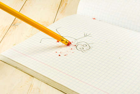 err: image of pencil with eraser on exercise book  background
