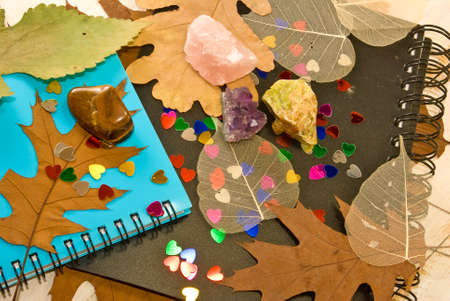 image of notebooks, autumn leaves and stones photo