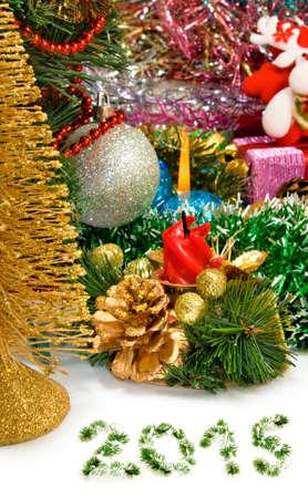 image of different Christmas dekorations closeup photo