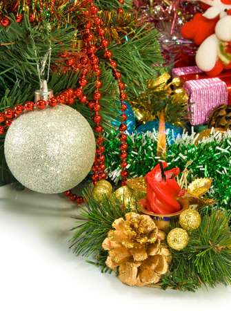 image of different Christmas dekorations closeup photo