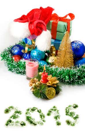 Christmas decoration on white background photo