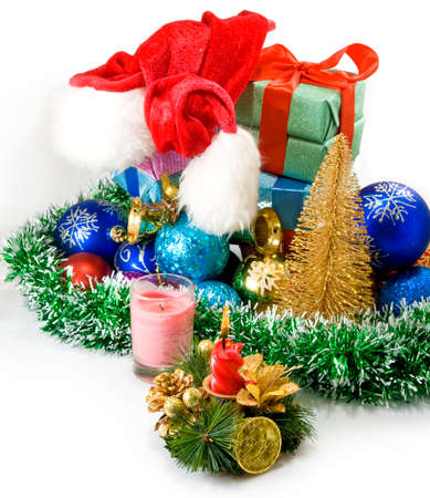 image of different Christmas decoration and boxes with gifts photo