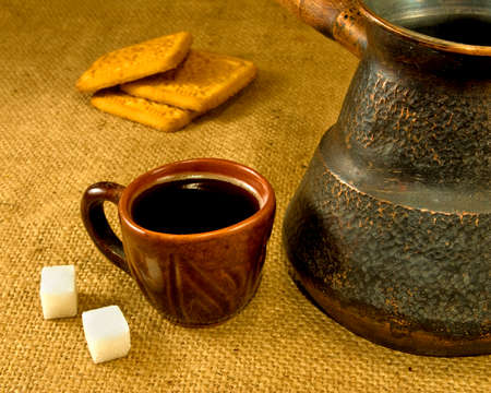 cezve: image of cup of coffee, cezve and cookies
