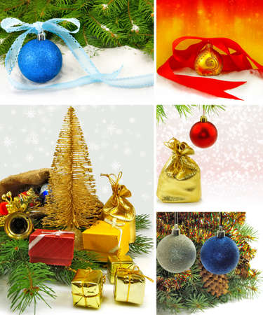mix of Christmas tree and Christmas decorations photo