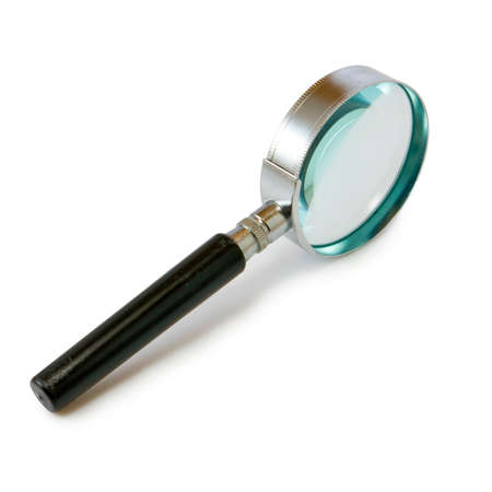 scrutiny: Isolated image of magnifying glass on white background