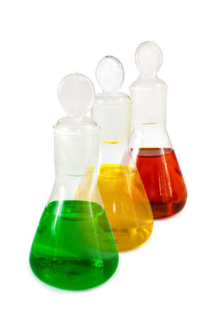 reagents: Isolated image of flasks with reagents closeup Stock Photo