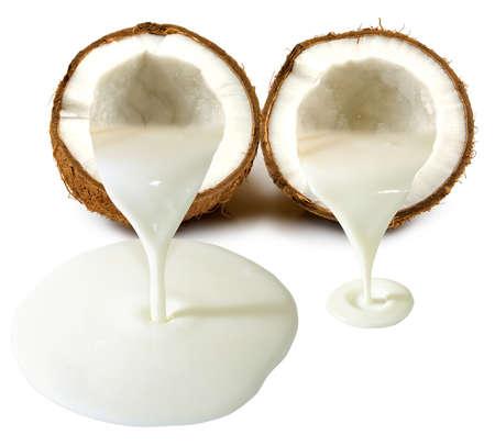 cocotier: Image isol�e d'une noix de coco et le lait de noix de coco agrandi Banque d'images