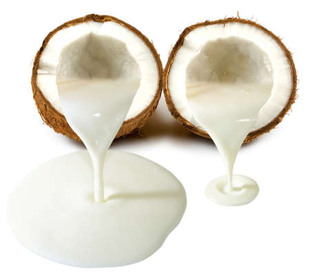 Isolated image of a coconut and coconut milk closeup