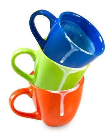 lavar trastes: Imagen aislado de tres tazas sucias vac�as Foto de archivo