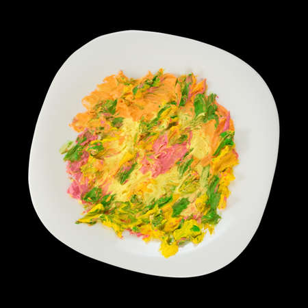 dirtiness: image of colorful dessert in the plate Stock Photo
