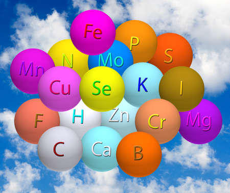 b ball: image of stylized balls with vitamins against the sky Stock Photo