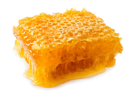 honey cell: Isolated image of honey on a white background Stock Photo