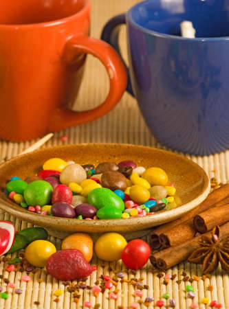 stimulated: image of cups and different sweets closeup