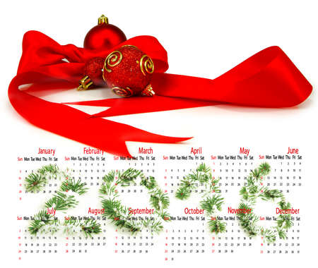 christmas decorations with white background: Calendar 2016. Christmas decorations on a white background