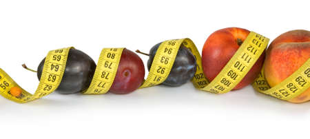centimeters: Image of fruits and centimeters Stock Photo