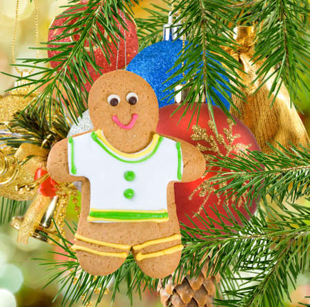 gingerbread: Image of gingerbread on Christmas decorations  background close-up