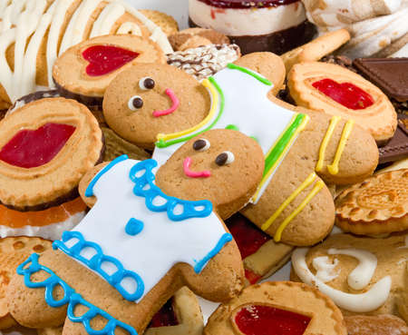 Image many delicious cookies and gingerbread close-up