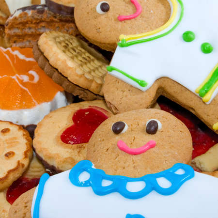 gingerbread: Image many delicious cookies and gingerbread closeup Stock Photo