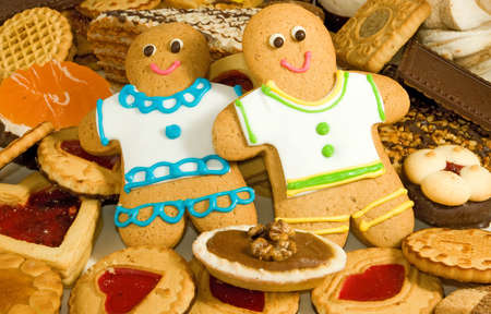 gingerbread: many delicious cookies and gingerbread close-up