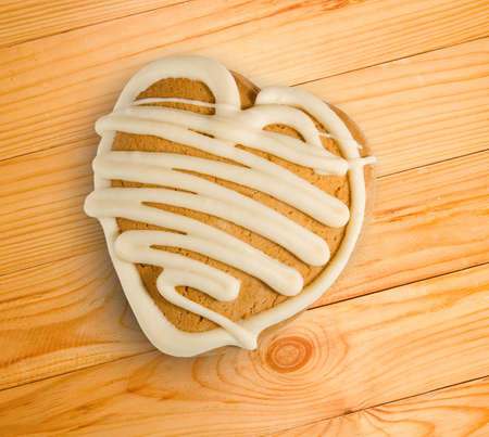 gingerbread: Image of tasty gingerbread in the form of heart close-up