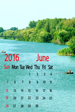 rural areas: river in the rural areas. Calendar for June 2016. Stock Photo