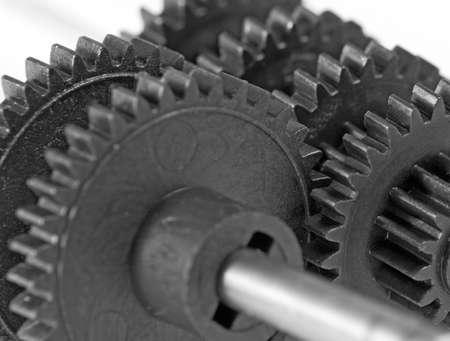 machine teeth: image of cogwheel close-up. Concept of teamwork